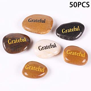 50PCS Grateful RockImpact Grateful Stone Engraved Inspirational Stones Bulk Motivational Grateful Gifts Zen Healing Inspir...