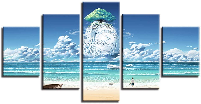 suministro directo de los fabricantes Giow Giow Giow Cuadro de la Lona Home Wall Art Decor 5 Unidades Cielo Azul Anime Mundo Mágico Pintura Impresión Modular Jugara Planeta árbol Cochetel Abstracto  envío rápido en todo el mundo