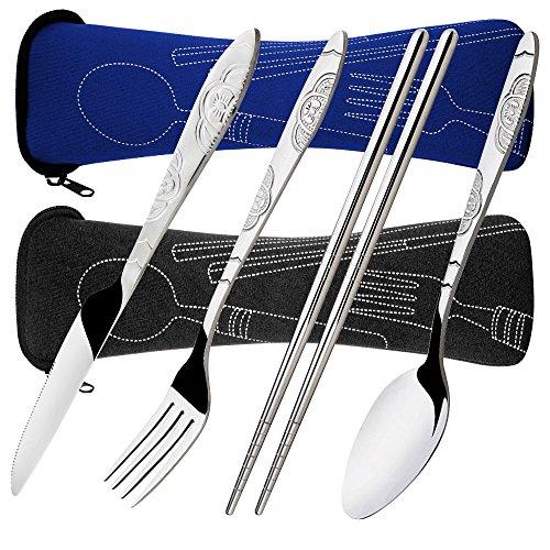 8 Pezzi Set di frutta, coltello, cucchiaio, bacchette, SENHAI 2 Pack Risto in acciaio inox da tavola Dinnerware con custodia per viaggiare Camping Picnic Working Hiking(Blu scuro, nero)