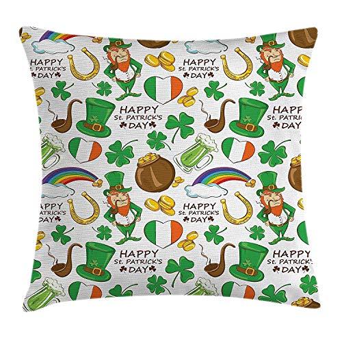 Butlerame Funda de Almohada del día de San Patricio, patrón de Fiesta Irlandesa, Cerveza, Duende, Bandera, Corazones, arcoíris, Oro y trébol, 18 x 18 Pulgadas, Multicolor