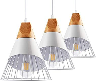 """B2ocled Pendant Lighting Kit,Swag Pendant Lights for Dinning Room, Living Room, Bedroom and Home Decoration, Include 8W Edison Bulb and 9.4"""" Pendant Light Shade with Iron Cage(3 Kits)"""