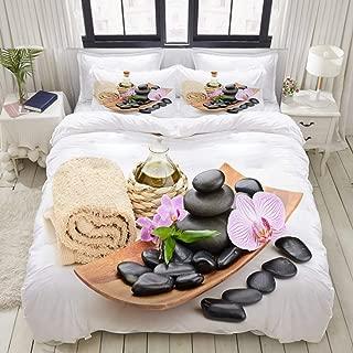 WINCAN Duvet Cover King Size Zen Basalt Stones and sea Salt on The White 3pc Bedding Set (1 Duvet Cover and 2 Pillow Shams) 104