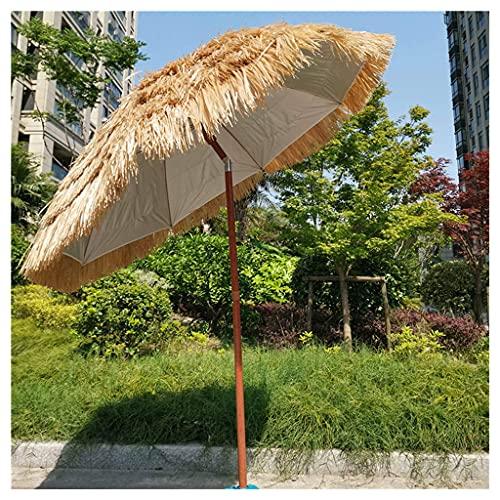 Ombrellone in Paglia da Esterno, ombrellone in Paglia da Spiaggia da 180 cm con Base con Funzione di inclinazione, ombrellone da Spiaggia Hawaiano per Patio con Piscina da Giardino