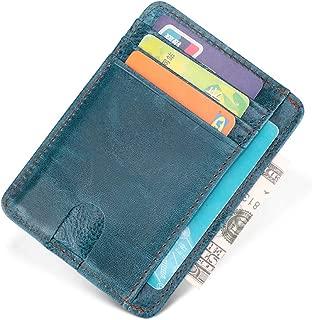 ANBENEED Genuine Leather Slim RFID Blocking Credit Card Holder Case Wallets For Women Ladies.