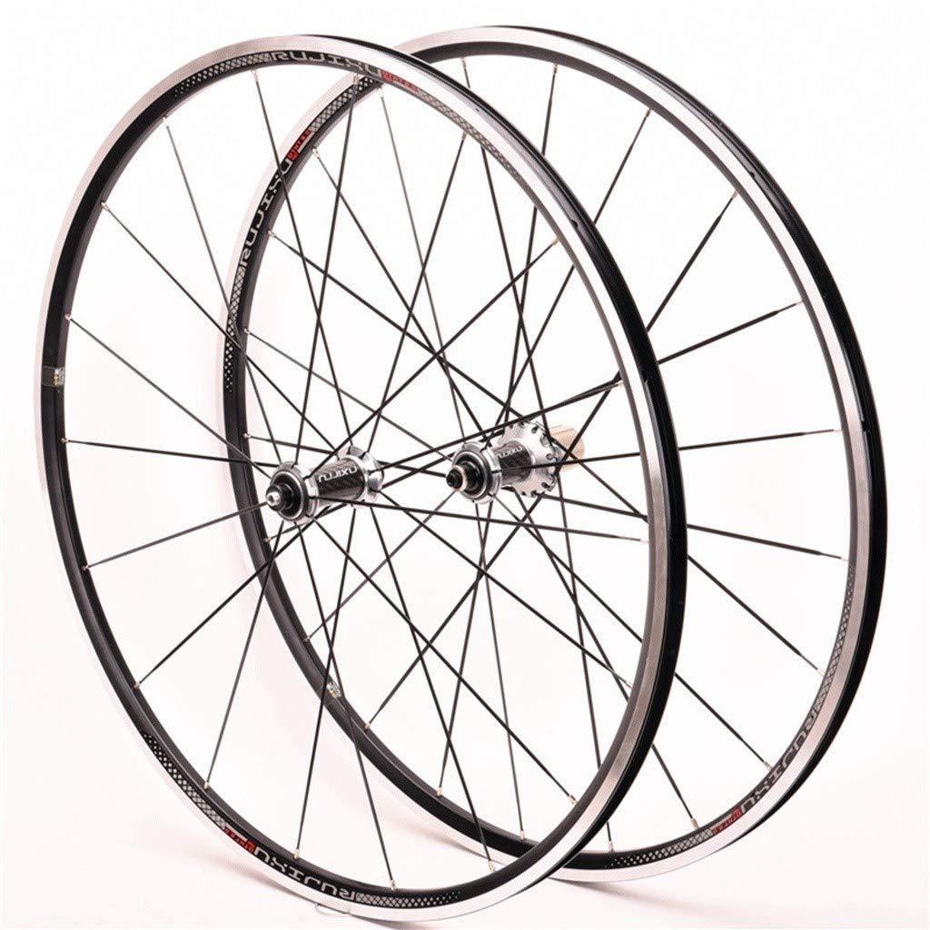 LSRRYD Rueda Trasera Delantera Bicicleta Juego Ruedas 700C Road Bike Llanta Aleación Doble Pared Rodamiento Sellado Cubo Fibra Carbono Freno C/V 8/9/10/11S Volante Cassette (Color : Silver hub): Amazon.es: Deportes y aire