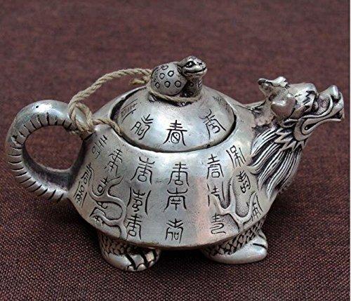 EASTCODE Adornos de Navidad + Tetera de Plata tibetana Antigua y RARA Escultura de Las Mujeres Maceta Tallado
