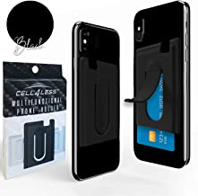 CELL4LESS Mobile Phone Handle Bracket for Auto AC Vent, Built in Credit Card Holder and Stand (Black)