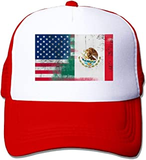 YINGBAWGM Half Mexican Half American Unisex Mesh Adjustable Plain Baseball Cap Trucker Hat