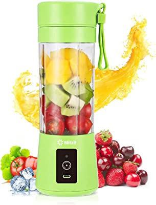 BLITZIT Portable Blender, Personal Size Blender Shakes and Smoothies Mini Jucier Cup USB Rechargeable Battery Strong Power Ice Blender Mixer Home Office Sports (GREEN)