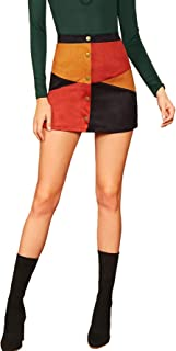 Women's Zipper Back A-line Bodycon Mini Faux Suede Corduroy Skirt