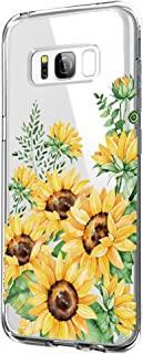 Cover Compatible with Samsung Galaxy S8 Plus Case Transparent Soft TPU Silicone Bumper Cover for Samsung S8 Phone - Flower Design (S8 Plus, 9)