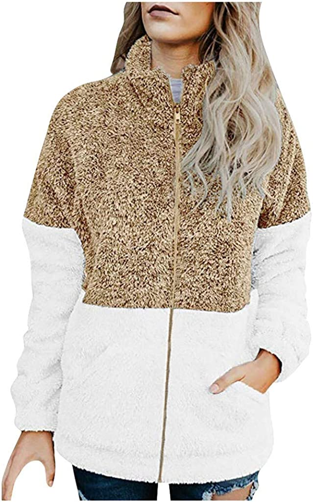 Challenge the lowest price Women's Soft Long Sleeve safety Zip-up Stitching Fleece Winter Faux Plu