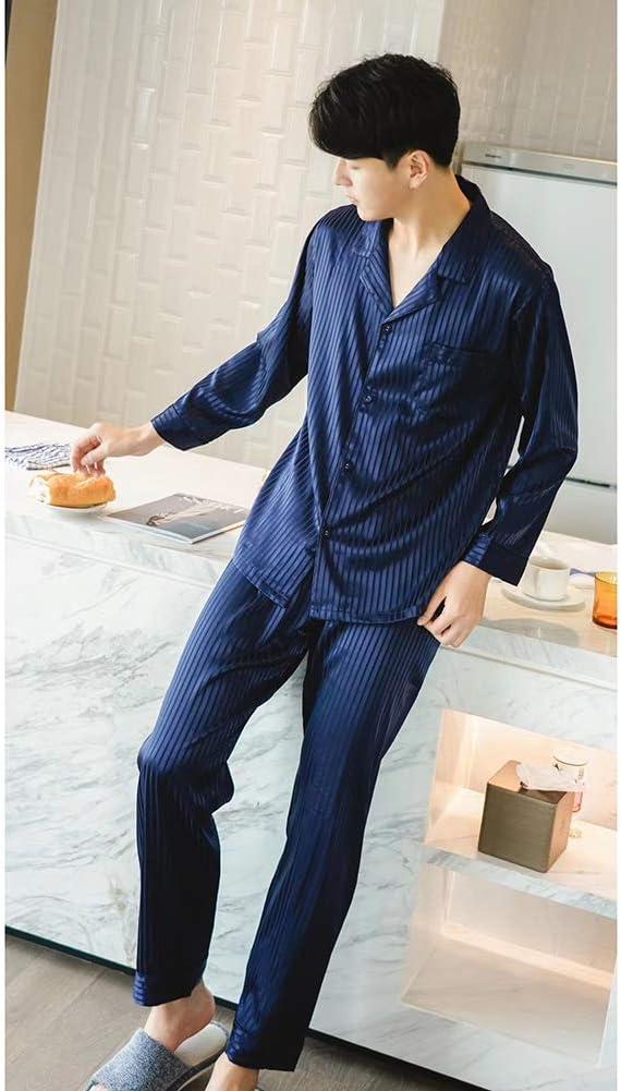 ZWLXY New Men's Summer Pajamas Men's Sleep Wear Men's Silk Summer Home Cool Ice Silk High-End Suit Pajamas Men,Blue,M