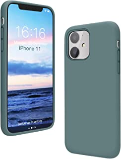 ANTTO Case for iPhone 11, Anti-Slip Liquid Silicone Gel Rubber Phone Case with Soft Anti-Scratch Microfiber Cloth Lining Cushion Shockproof Protective Case Cover, Pine Green