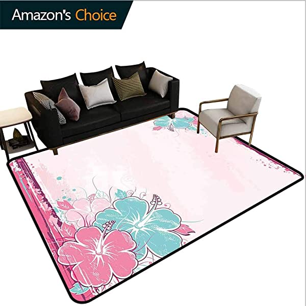Bigdatastore Flower Polka Dot Area Rug Non Slip Pad Bouquet Of Hibiscus Florets Watercolor Elegance Beauty Artwork Fashionable High Class Living Bedroom Rugs 2 X 6
