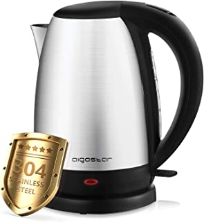comprar comparacion Aigostar Knight – Hervidor de Agua Eléctrico, 1,7 litros, 2200 watios, libre de BPA y material de acero inoxidable pulido ...