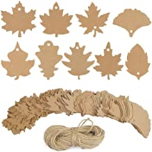 Maple Fall Leaves Shape Gift Tags with 66 ft Natural Jute Twine, 180 pcs 9 Kind Fall Leaves Design Gift Labels for Thanksgiving Christmas Day and Holiday, Wedding, Parties, Arts and Crafts