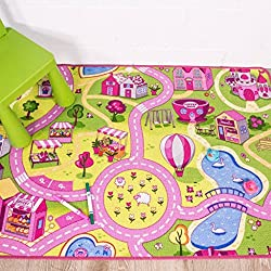 "Size: 80cm x 120cm (2'7"" x 3'11"") Colours: Pink, Green, Yellows and Blue Material: 100% Polyamide Classic Kids Play Mat Funfair Design - Adding fun and colour to children's physical play area or fun and colour to any room of the house! Easy Clean, Ea..."