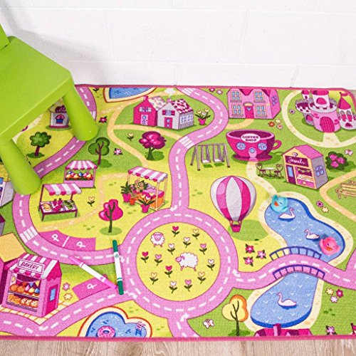 Children's Funfair Pink Colourful Kids Girls Town City Roads Floor Play Area Rug Mat 95cm x 133cm (3'1' x 4'4')