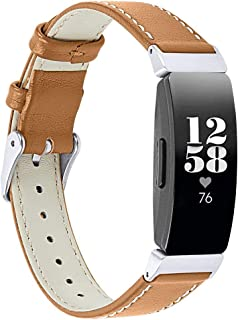 Leather Watch Bands Compatible with Fitbit Inspire/Inspire HR - Hamkaw Single-Loop Replacement Accessories Strap Fitness Tracker Wristbands for Women Men Brown