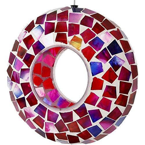 Sunnydaze Hanging Bird Feeder - Outdoor Round Decorative Birdfeeder with Fly-Through Opening and Crimson Glass Mosaic Design - Backyard, Deck and Porch Decor - 6-Inch