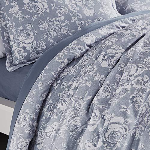 SLEEP ZONE Bedding Duvet Cover Sets Printed Pattern Elegant Peony 120gsm Ultra Soft Zipper Closure Corner Ties, Blue, Full/Queen