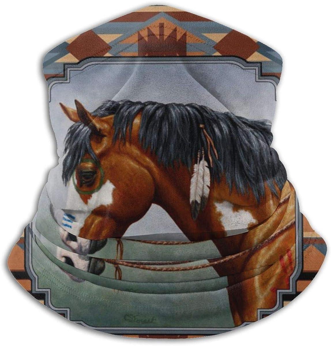 CLERO& Scarf Fleece Neck Warmer Indian War Horse Southwestern Southwestern Windproof Winter Neck Gaiter Cold Weather Face Mask for Men Women
