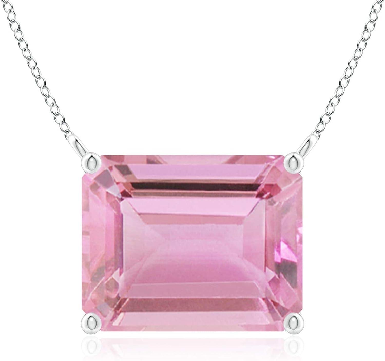 East-West Emerald-Cut Trust Pink Tourmaline Pendant Solitaire 10x8mm Industry No. 1