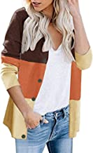 2019 Fall Cardigans Coat for Womens Classic Long Sleeve Color Block Button Short Knit Sweater Tops Sopzxclim