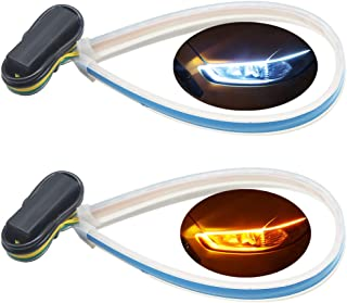 2Pcs 11.8 Inches Flexible Ultrathin Dual Color White/Amber(Flow) LED Strip Lights Waterproof DIY Car Daytime Running Light Strip DRL Switchback Headlight & Turn Signal Light- Easy Paste Install.