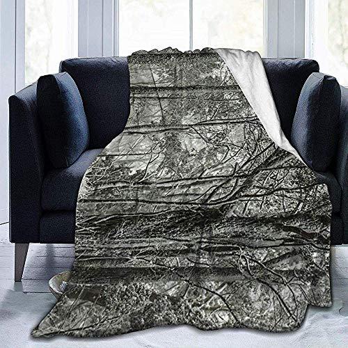 KL Decor flanel dekens, mooie sneeuw kauwgom bomen bos micro fleece deken luxe deken voor volwassen ouders rust 153x127cm