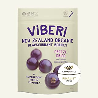 ViBERi NZ Freeze Dried Organic Blackcurrants 120g Whole Dried 100% Natural Fruit With No Additives