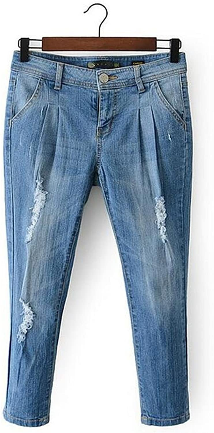 Byjia Women'S Jeans Pocket Classic Premium Comfort Light Destroyed Relaxed Fit StraightLeg Power Curvy bluee Denim Pants