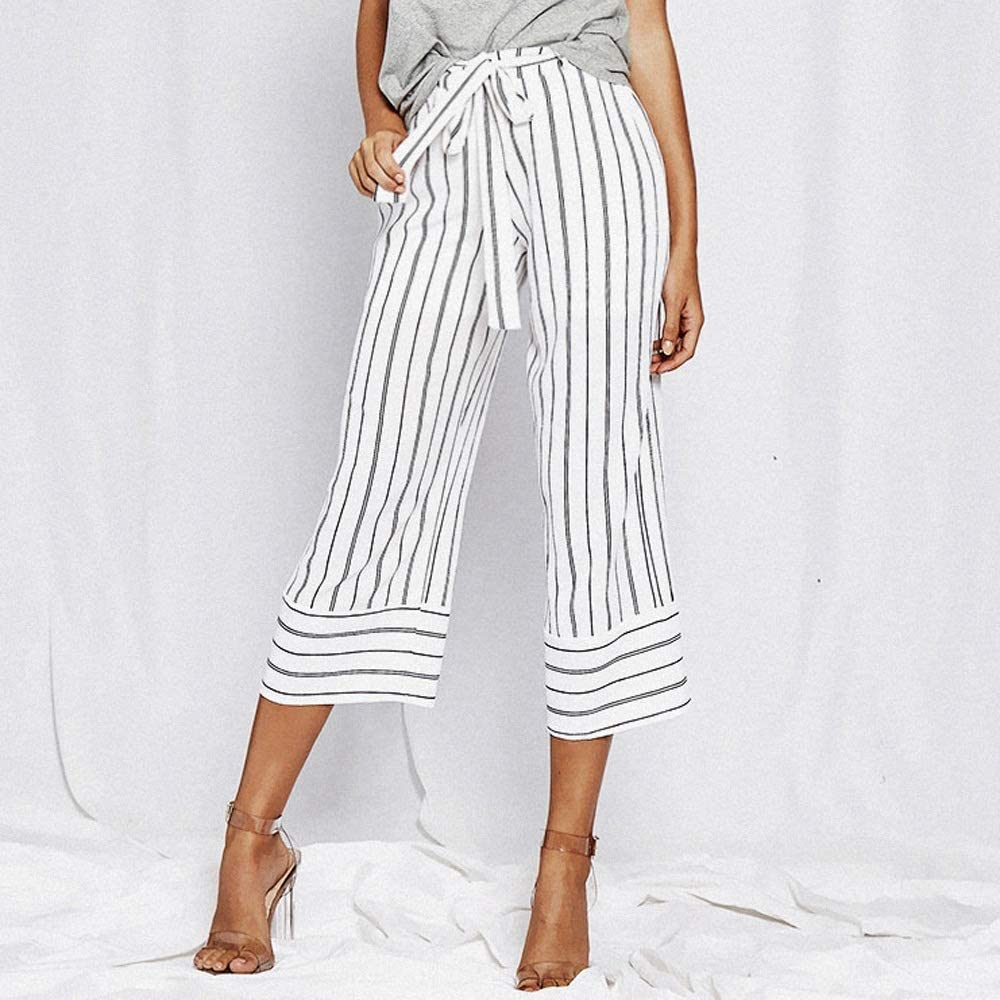 Womens Clothing Women Lacing Loose Vertical Stripes Casual Trousers Wide-Leg Straight Pants Womens Clothing (Color : White, Size : M)
