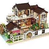 CUTEBEE Miniatura de la casa de muñecas con Muebles, Equipo de casa de muñecas de Madera DIY, más...