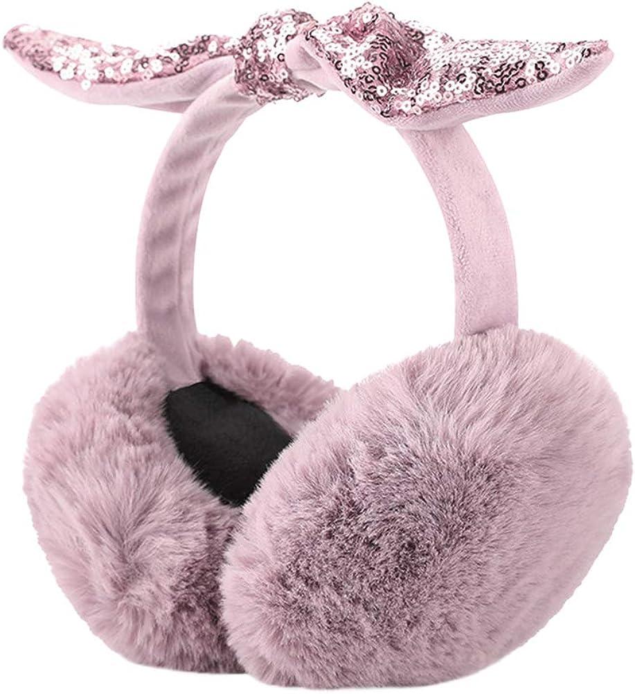 Luxury ICEVOG Women Faux Fur 2021 new Ear Muffs Cute Fluf with Sequins Warm Bow