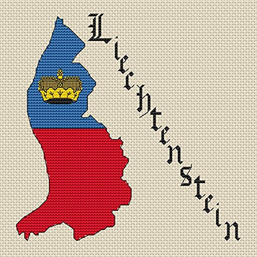 Liechtenstein Kaart & Vlag Cross Stitch Kit door Elite Designs