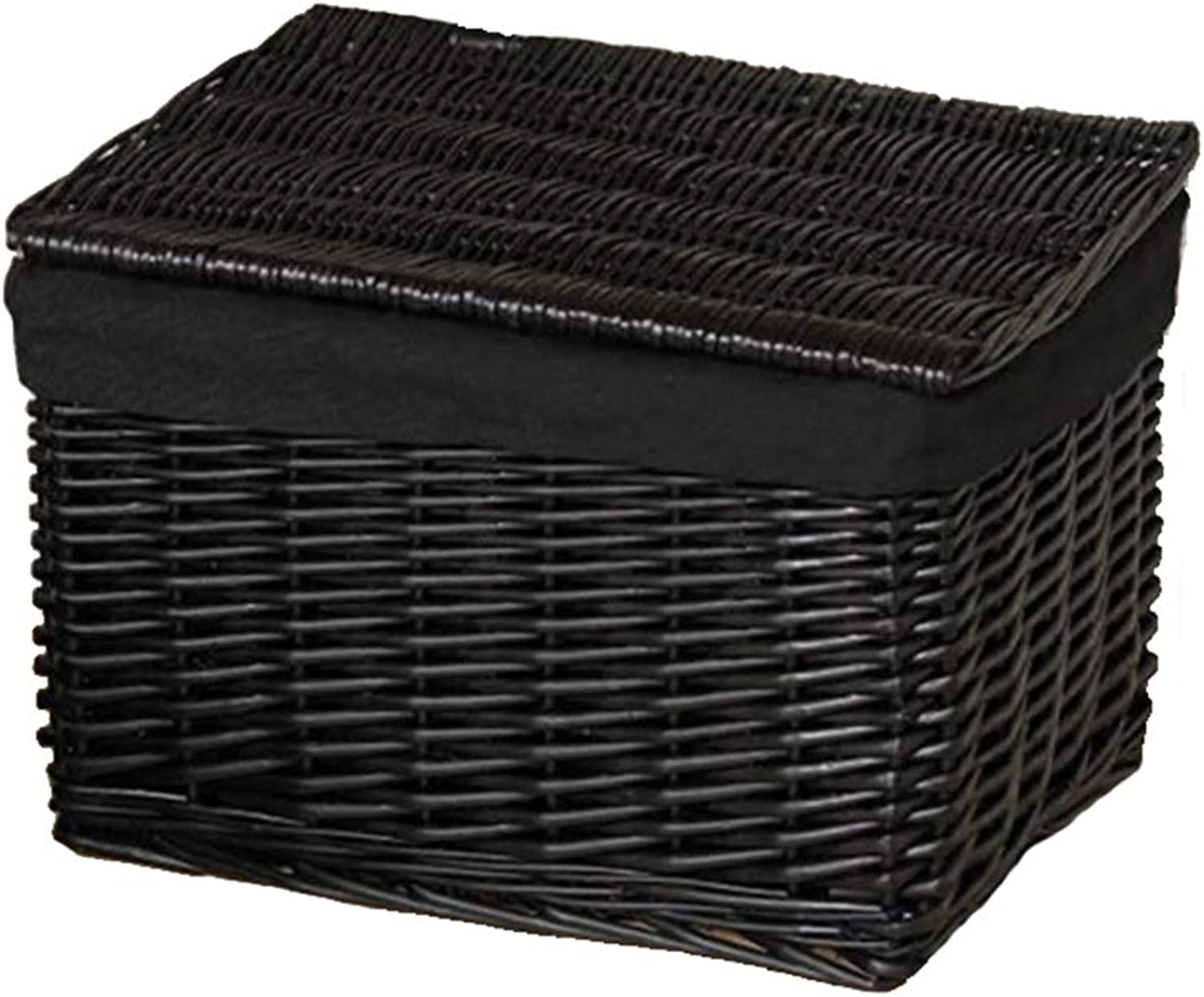 Laundry Hamper Storage Boxes Extra Large with Lid Rattan Storage Basket Clothes Storage Storage Box Rural Wind ZHANGQIANG (color   Black-Black, Size   52  34  35cm)