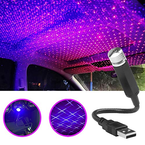 Car Roof Star Night Light, Portable Adjustable USB Flexible Interior LED Show Romantic Atmosphere Star Night Projector for Cars, Bedrooms, Parties, Camping etc (Purple Blue)