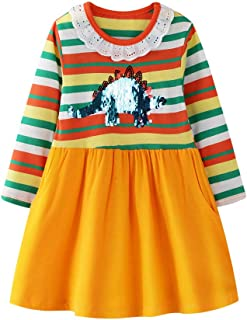 HILEELANG Girl Casual Cotton Long Sleeve Dress Christmas Winter Warm Stripe Basic Play Tunic Shirt Dress