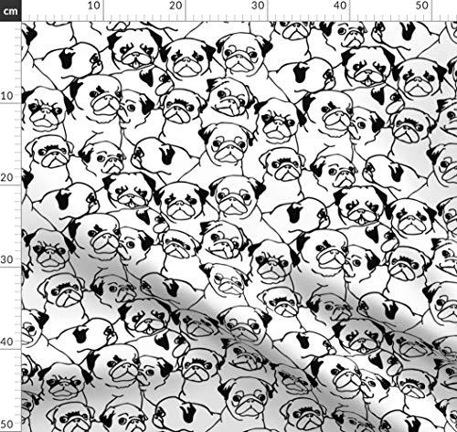 Mops, Hund Stoffe - Individuell Bedruckt von Spoonflower - Design von Huebucket Gedruckt auf Baumwollstoff Klassik