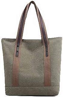 Shoulder Bag Women's Fashion Zippers Canvas Tote Bags Shoulder Bags Handbag Clutch (Color : Green, Size : One Size)