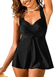 Hilor Women's Tankini Swimsuits Surplice Twist Front Swim Top Wrap Push UP Swimwear Tops