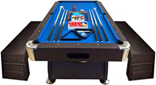 SIMBASHOPPING USA 8' Feet Billiard Pool Table Full Set Accessories Vintage Blue 8FT with Benches