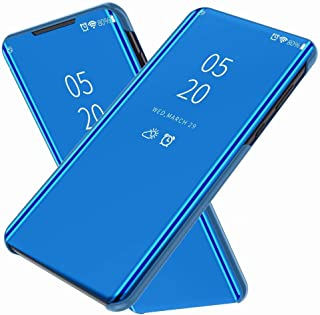 FanTing Case for LG Q92 5G,Mirrored flip smart translucent case with automatic switch for LG Q92 5G-Blue