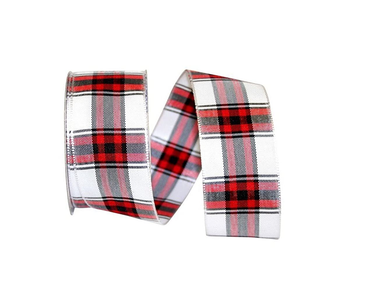 Reliant Ribbon 25762W-036-09F Woven Lauren Plaid Wired Edge Ribbon, 1-1/2 Inch X 10 Yards, White/red