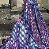 Schillernde Meerjungfrau-Schuppen, Stoff, Hologramm,