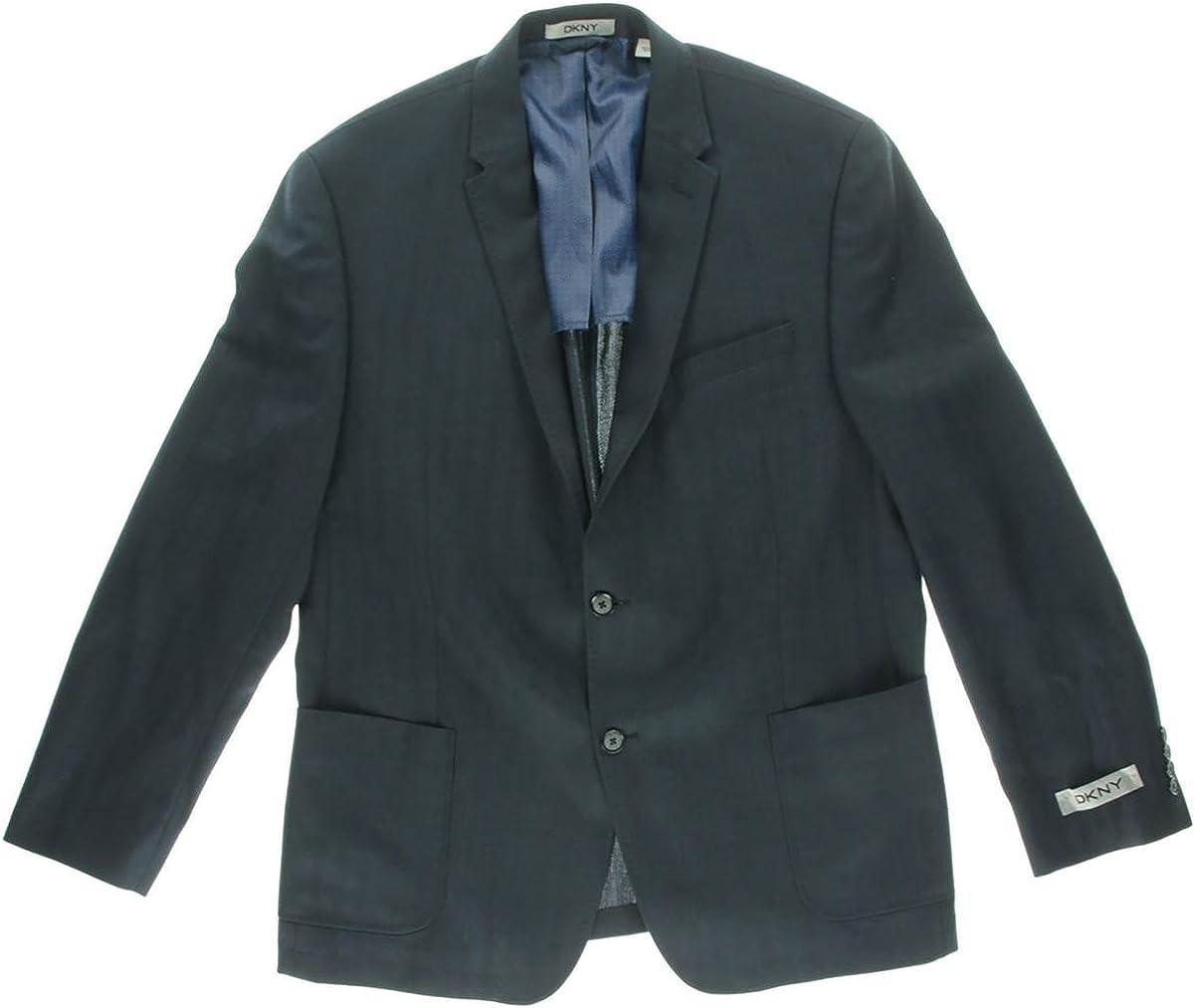 DKNY Slim Fit Navy Blue Herrignbone Half Lined Wool Blazer with Patch Pockets