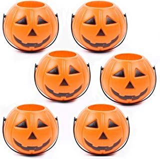 EORTA 6 Pack Mini Candy Buckets Pumpkin Shaped Plastic Basket Halloween Decoration Trick Treat Props Party Supply for Kids Game Home Street Tree Craft