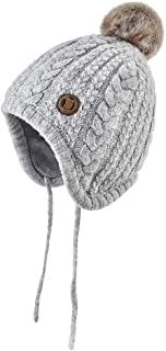 Baby Beanie Hat Earflaps - Infant Winter Warm Snow Hat Toddler Cute Pompom Knitted Cap